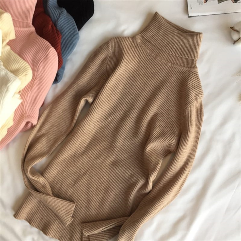 Gloria S World 2021 Autumn Winter Thick Sweater Women Knitted Ribbed Pullover Sweater Long Sleeve Turtleneck Slim Jumper Soft Warm Pull Femme